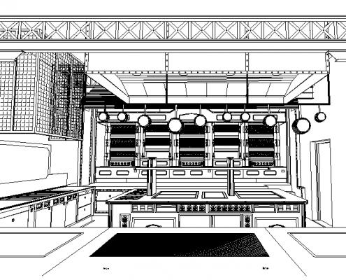 Réalisation du plan 3D du projet par notre bureau d'études. Les Grands Buffets, à Narbonne. Réalisation Fidec, cuisiniste et frigoriste professionnel.